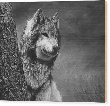 Gray Wolf - Black And White Wood Print by Lucie Bilodeau