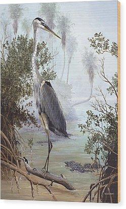 Great Blue Heron Wood Print by Kevin Brant