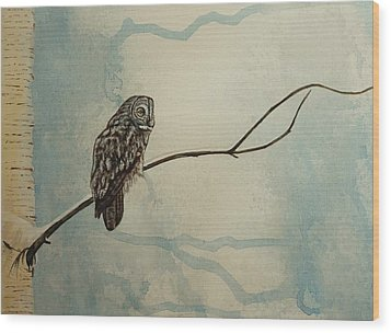 Great Gray Owl Wood Print by Lucy Deane