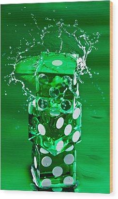 Green Dice Splash Wood Print by Steve Gadomski
