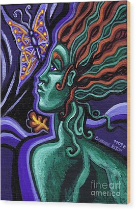 Green Goddess With Butterfly Wood Print by Genevieve Esson