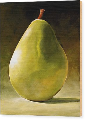 Green Pear Wood Print by Toni Grote