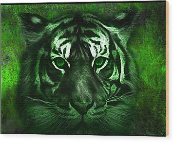 Green Tiger Wood Print by Michael Cleere