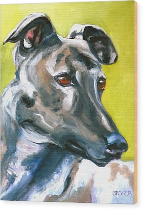 Greyhound Wood Print by Susan A Becker