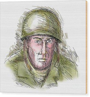 Gritty World War Two Soldier Wood Print by Aloysius Patrimonio