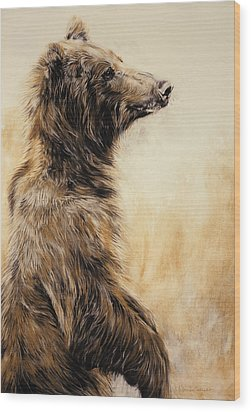 Grizzly Bear 2 Wood Print by Odile Kidd