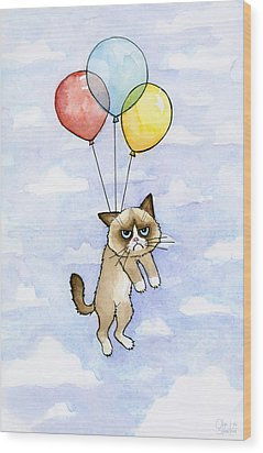 Grumpy Cat And Balloons Wood Print by Olga Shvartsur