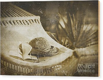 Grunge Photo Of Hammock And Book Wood Print by Sandra Cunningham
