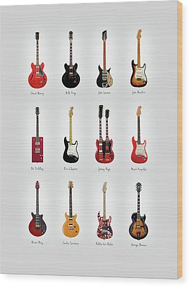 Guitar Icons No1 Wood Print by Mark Rogan