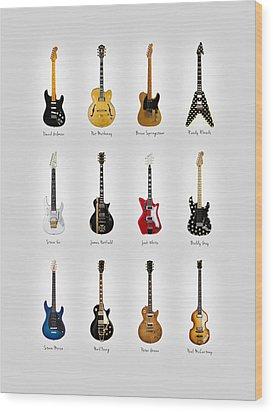 Guitar Icons No2 Wood Print by Mark Rogan
