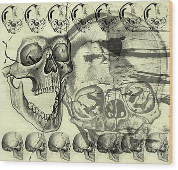 Halloween In Grunge Style Wood Print by Michal Boubin