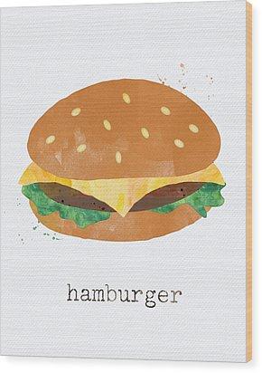 Hamburger Wood Print by Linda Woods
