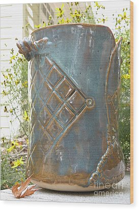 Hand Built Vessel- Wine Cooler Wood Print by Christine Belt