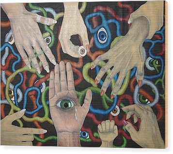 Hands And Eyes Wood Print by Nancy Mueller