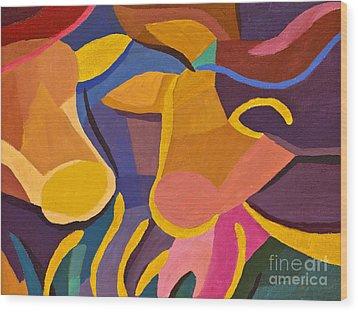 Happy Cows Wood Print by Lutz Baar