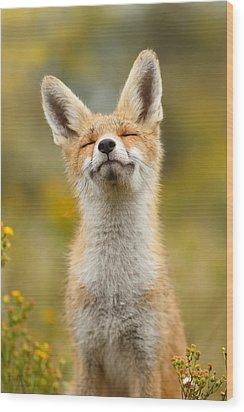 Happy Fox Wood Print by Roeselien Raimond