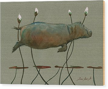 Happy Hippo Swimming Wood Print by Juan  Bosco