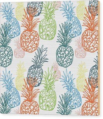 Happy Pineapple- Art By Linda Woods Wood Print by Linda Woods