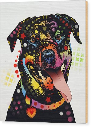 Happy Rottweiler Wood Print by Dean Russo