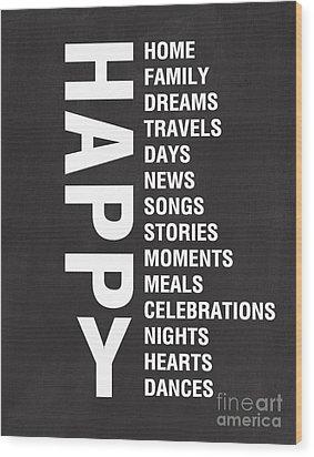 Happy Things Wood Print by Linda Woods