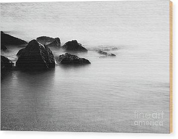 Harbor Rocks And Misty Ocean I Wood Print by Charmian Vistaunet
