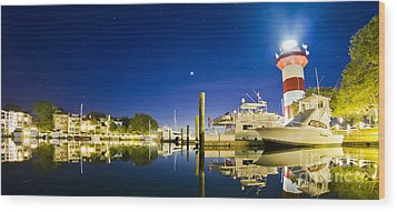 Harbor Town Yacht Basin Light House Hilton Head South Carolina Wood Print by Dustin K Ryan