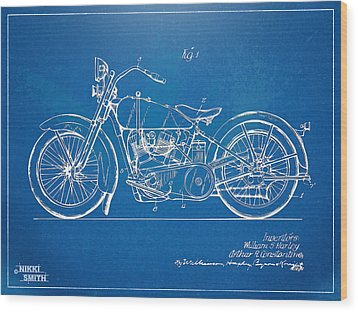 Harley-davidson Motorcycle 1928 Patent Artwork Wood Print by Nikki Marie Smith
