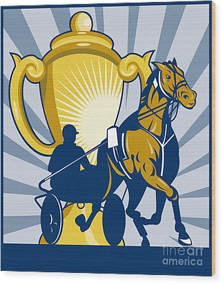 Harness Cart Horse Racing Wood Print by Aloysius Patrimonio