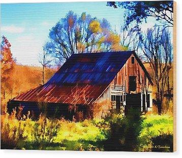 Harrison Barn Wood Print by Kathy Tarochione