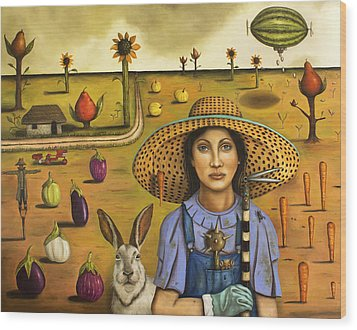 Harvey And The Eccentric Farmer Wood Print by Leah Saulnier The Painting Maniac