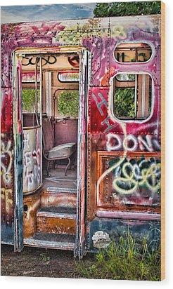 Haunted Graffiti Art Bus Wood Print by Susan Candelario