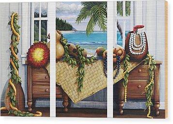 Hawaiian Still Life With Haleiwa On My Mind Wood Print by Sandra Blazel - Printscapes