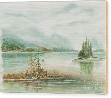 Hazy On The Lake Wood Print by Samuel Showman