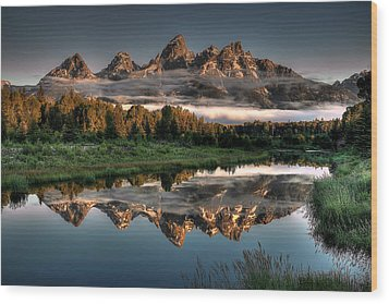 Hazy Reflections At Scwabacher Landing Wood Print by Ryan Smith