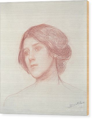 Head Of A Girl Wood Print by John William Waterhouse