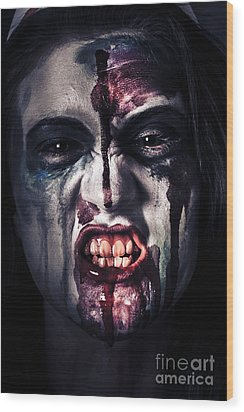 Head Shot On A Pure Evil Zombie Girl Wood Print by Jorgo Photography - Wall Art Gallery