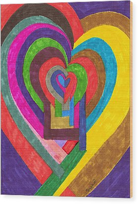 Heart Under Rennovation Wood Print by Brenda Adams