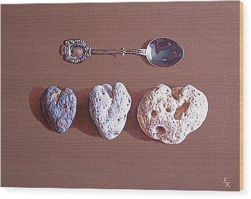 Hearts Of Three Wood Print by Elena Kolotusha