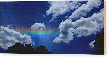 Heavens Rainbow Wood Print by Linda Sannuti
