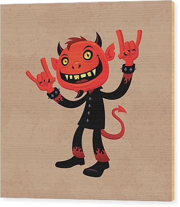 Heavy Metal Devil Wood Print by John Schwegel