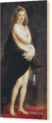 Helena Fourment In A Fur Wrap Wood Print by Rubens