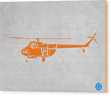 Helicopter Wood Print by Naxart Studio