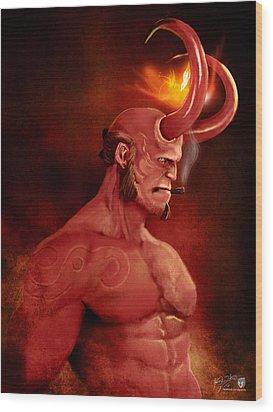 Hellboy Wood Print by Jason Longstreet