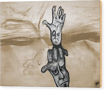 Helping Hand Wood Print by Jacob Smith