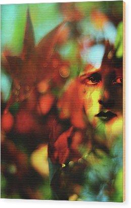 Her Autumn Eyes Wood Print by Rebecca Sherman