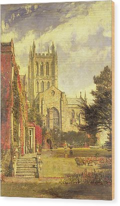 Hereford Cathedral Wood Print by John William Buxton Knight