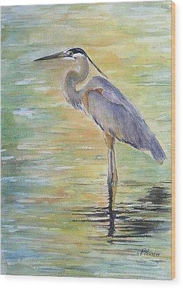 Heron At The Lagoon Wood Print by Patricia Pushaw