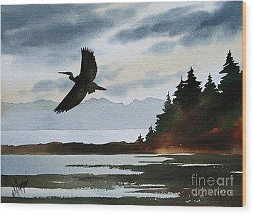 Heron Silhouette Wood Print by James Williamson