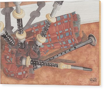 Highland Pipes II Wood Print by Ken Powers