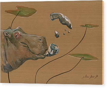Hippo Bubbles Wood Print by Juan  Bosco